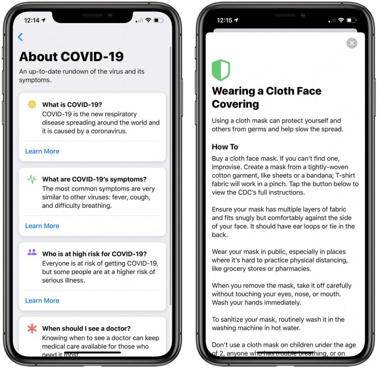 Apple COVID-19 App update